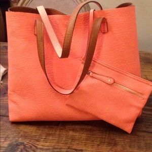 Nordstrom veg leather reversible tote coral brown